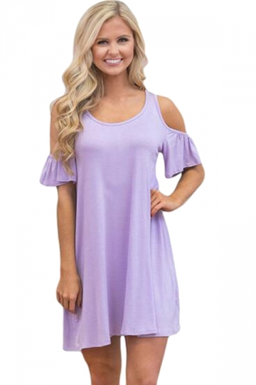 Womens Cute Cold Shoulder Crew Neck Smock Dress Light Purple