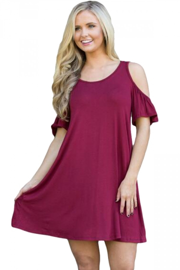 Womens Cute Cold Shoulder Crew Neck Smock Dress Ruby