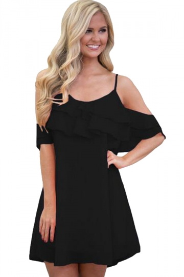 Womens Ruffle Double Layered Adjustable Straps Smock Dress Black