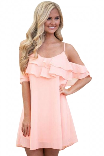 Womens Ruffle Double Layered Adjustable Straps Smock Dress Pink