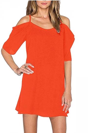 Womens Chiffon Straps Cold Shoulder Half Sleeve Smock Dress Orange