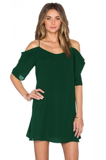 Womens Chiffon Straps Cold Shoulder Half Sleeve Smock Dress Green