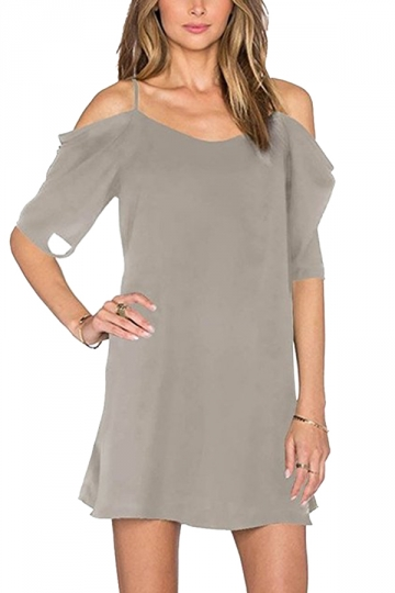 Womens Chiffon Straps Cold Shoulder Half Sleeve Smock Dress Gray