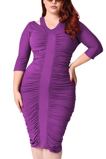 Womens Plus Size Waisted Pleated Half Sleeve Midi Dress Purple