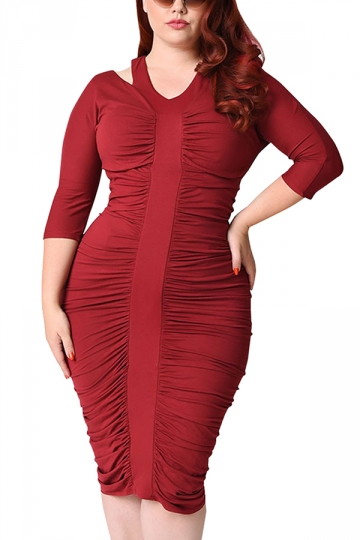 Womens Plus Size Waisted Pleated Half Sleeve Midi Dress Ruby