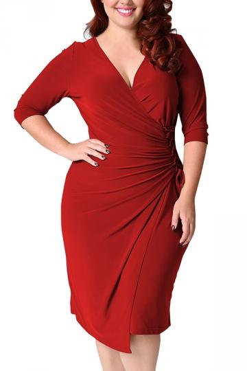 Womens Deep V-neck Plus Size Lacing Half Sleeve Midi Dress Red