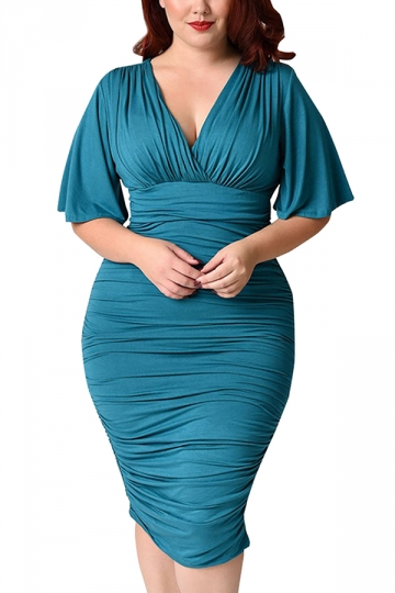 Womens Plus Size Deep V-neck Pleated Ruffle Sleeve Dress Turquoise