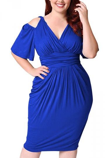 Womens Plus Size Cold Shoulder V-neck Waisted Midi Dress Blue