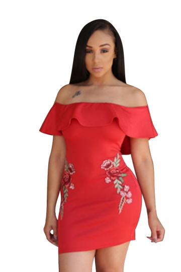 Womens Ruffled Off Shoulder Flower Printed Clubwear Dress Red