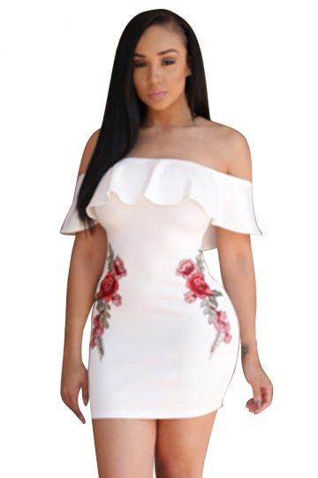 Womens Ruffled Off Shoulder Flower Printed Clubwear Dress White