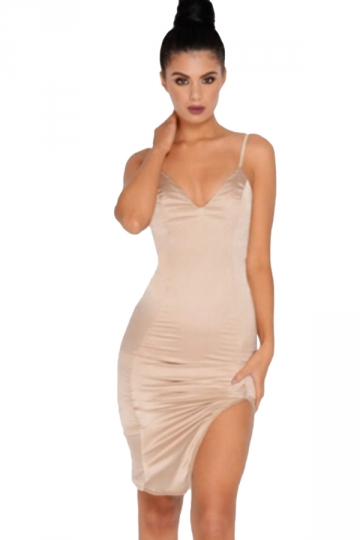 Womens Sexy Low Cut Straps Side Slits Fitting Bodycon Dress Apricot
