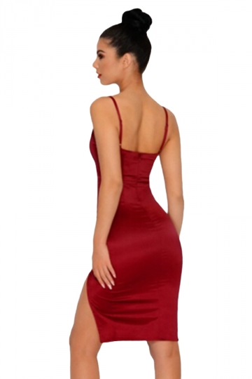Womens Sexy Low Cut Straps Side Slits Fitting Bodycon Dress Ruby