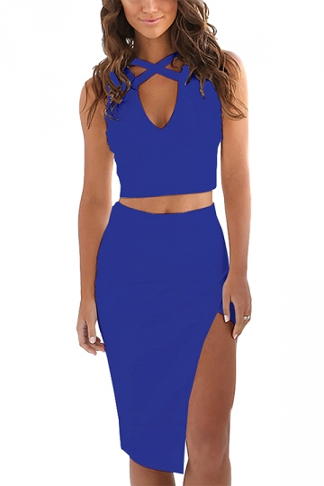 Womens Plain Low Cut Bare-midriff Side Slits Two Pieces Dress Blue