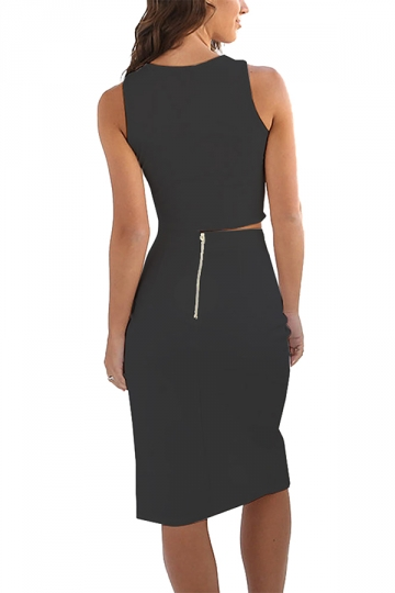 Womens Plain Low Cut Bare-midriff Side Slits Two Pieces Dress Black