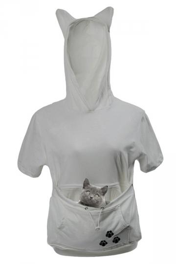 Womens Large Pocket Cat Printed Short Sleeve Hoodie Light Gray