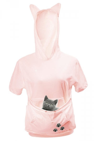 Womens Large Pocket Cat Printed Short Sleeve Hoodie Pink