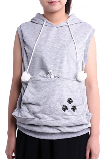 Womens Big Pocket Sleeveless Cat Ears Hoodie Gray