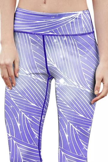 Womens Striped Racer Back Crop Top&Sports Pants Suit Light Purple