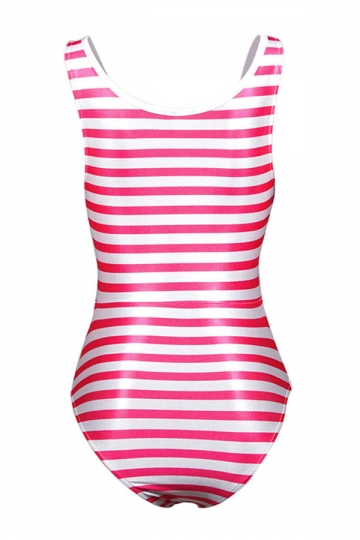 Womens Knot Low Cut Striped Printed One Piece Swimsuit Red