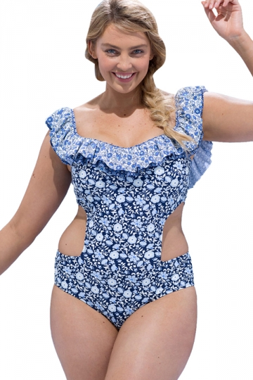 Womens Boat Neck Cut Out Waist Floral Printed Plus Size Monokini Blue