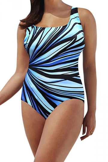 Womens Striped Plus Size Cross Cutout Back One Piece Swimsuit Blue