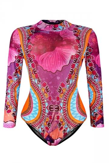 Womens Floral Printed Mock Neck Long Sleeve Monokini Rose Red