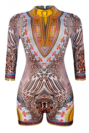 Womens Open Back Exotic Printed Long Sleeve One Piece Swimsuit Brown