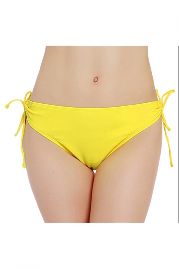 Womens Plain Sides Drawstring Swimsuit Bottom Yellow