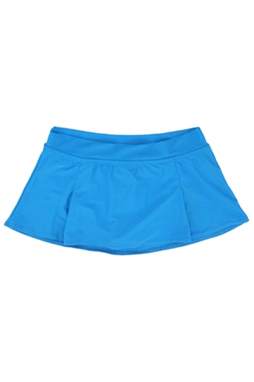 Womens High Waist Plain Skort Swimsuit Bottom Blue