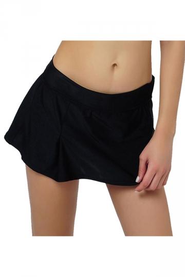 Womens High Waist Plain Skort Swimsuit Bottom Black