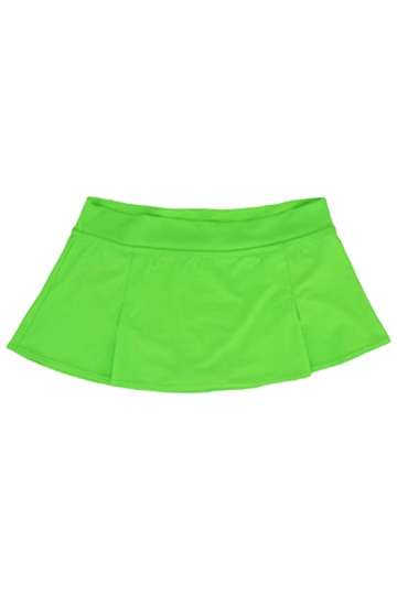 Womens High Waist Plain Skort Swimsuit Bottom Green
