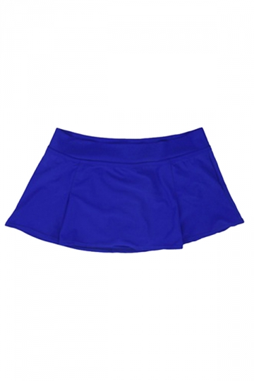 Womens High Waist Plain Skort Swimsuit Bottom Sapphire Blue