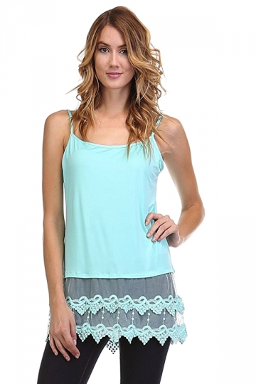 Womens Plain Lace Trim Patchwork Camisole Top Blue