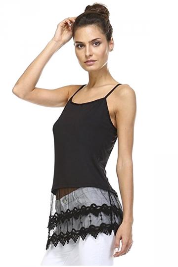 Womens Plain Lace Trim Patchwork Camisole Top Black