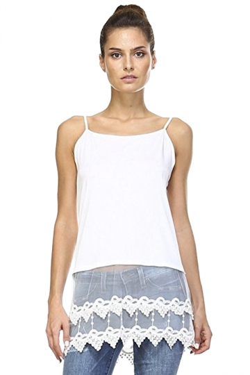 Womens Plain Lace Trim Patchwork Camisole Top White