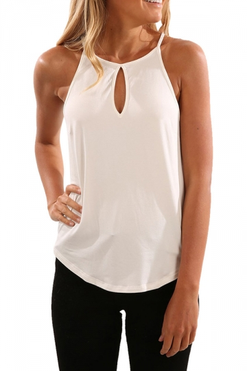 Womens Round Neck Cutout High Low Plain Camisole Top White