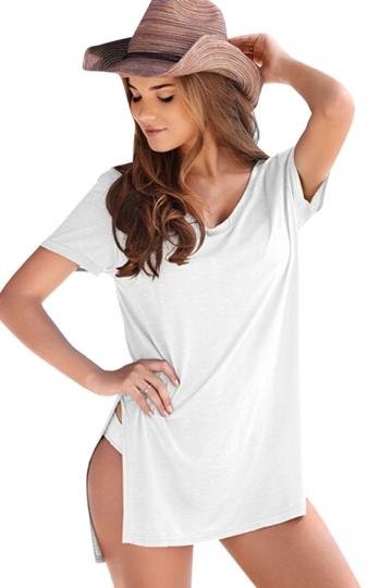 Womens v neck sides slit short sleeve plain t shirt white for Plain white tee shirt womens