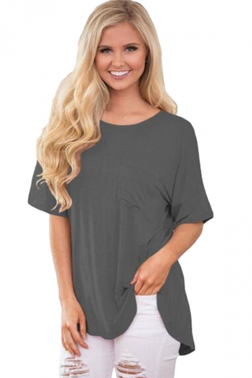 Womens Cut Out Strappy Back Short Sleeve Plain T Shirt Gray