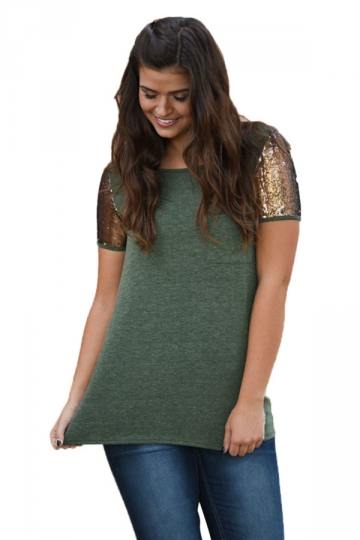 Womens Sequined Sleeve Patchwork Pocket T-shirt Green