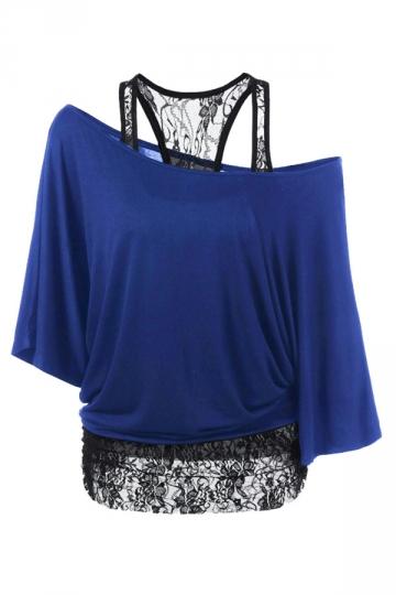 Womens False 2PCS Lace Patchwork Cold Shoulder Batwing Sleeve Top Blue