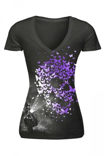 Womens V-neck Butterfly Printed Short Sleeve T-shirt Black