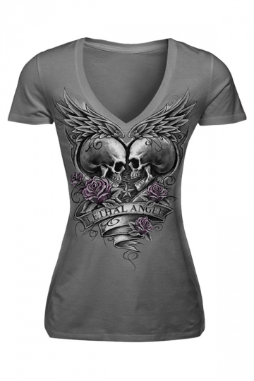 Womens V-neck Skull Lethal Angel Printed Short Sleeve T-shirt Gray