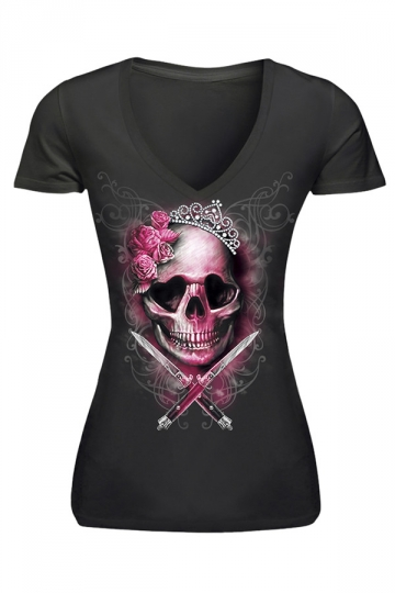 Womens V-neck Skull Head Printed Short Sleeve T-shirt Black