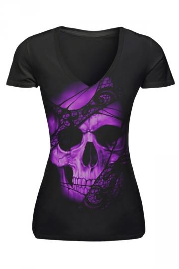 Womens V-neck Purple Skull Head Printed Short Sleeve T-shirt Black