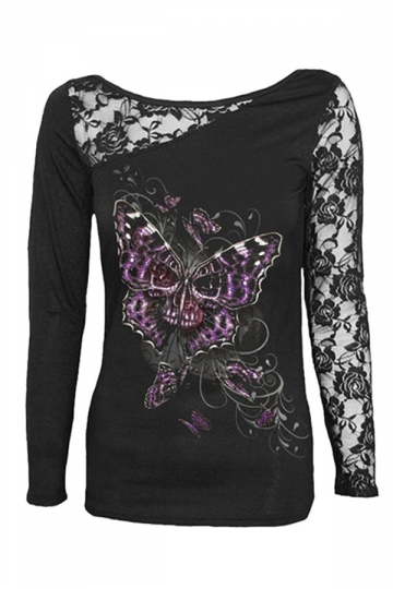 Womens Lace Patchwork Skull Butterfly Printed Long Sleeve Top Black