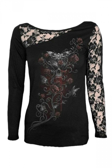 Womens Lace Patchwork Skull Rose Printed Long Sleeve T-shirt Black