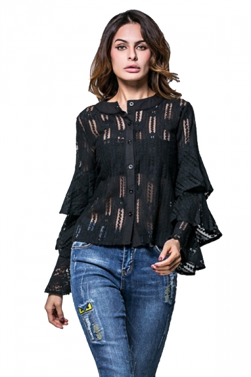 Womens Single-breasted Ruffled Flare Sleeve Plain Lace Blouse Black