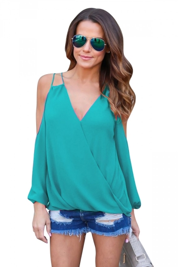 Womesn V-neck Strings Cold Shoulder Long Sleeve Blouse Green