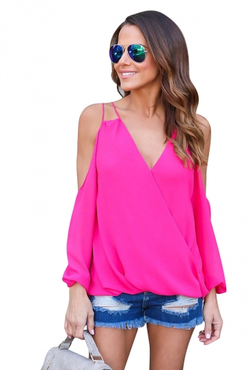 Womesn V-neck Strings Cold Shoulder Long Sleeve Blouse Rose Red