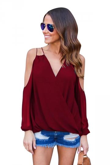Womesn V-neck Strings Cold Shoulder Long Sleeve Blouse Ruby